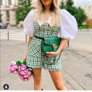 NWT ZARA Tweed Jumpsuit Ecru Green M Blogger' Fav